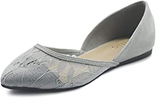 Women's Shoes Faux Suede Floral Mesh Lace Breathables Pointed Toe Ballet Flats F90