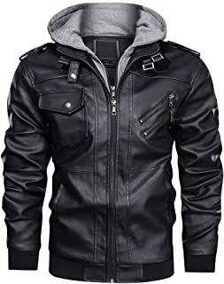 CRYSULLY Men`s Leather Jacket-Fall Winter Vintage Motorcycle Biker Jacket with Removable Hood