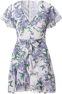 Women Floral Print Deep V Short Sleeve Mini Beach Dress with Belt