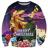 chicolife 3D Rayo Divertido Dinosaurio Flash Dragon diseño Hip Hop Humor suéter suéter Sudadera FEA Navidad