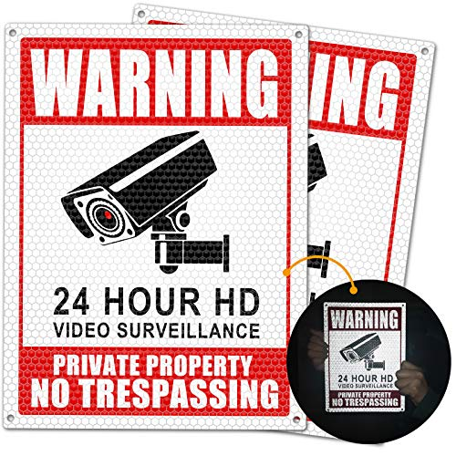 Botocar 2-Pack No Trespassing Signs Private Property, Upgraded Honeycomb Reflective Video Surveillance Sign, Anti-Scratch 10x7in Aluminum Security Camera Sign for Home, Business, UV Protected, Waterproof