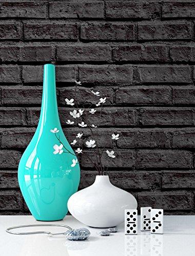 Steintapete schwarz Anthrazit, schöne edle Tapete im Steinmauer Design, Moderne 3D Optik für Wohnzimmer, Schlafzimmer oder Küche inklusive Newroom Tapezier Profibroschüre, mit Tipps für perfekteWände