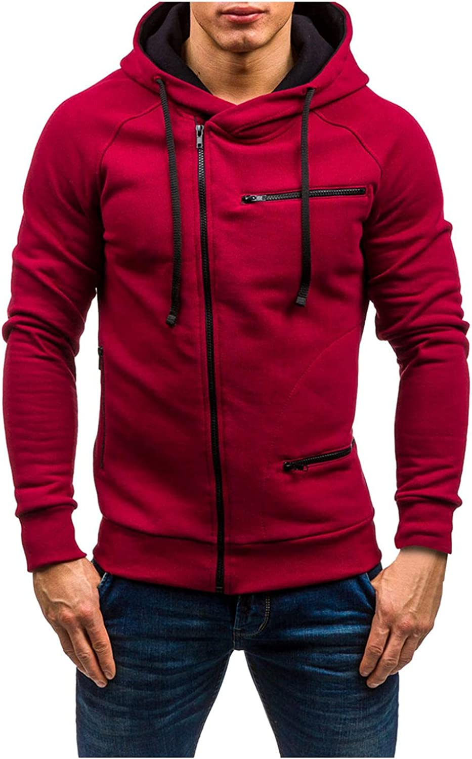 JSPOYOU Hoodies Jacket For Men Outdoors Zip Up Big And Tall Short Coat Casual Slim Fit Lightweight Outerwear