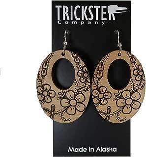 Trickster Company Northwest Coast Native Art Flower Oval-Shaped Slow Engraved Earrings