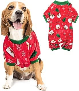 PUPTECK Flannel Christmas Dog Pajamas-Cute Santa Claus Snowflake Soft Pet Clothes Xmas Jumpsuit Pjs