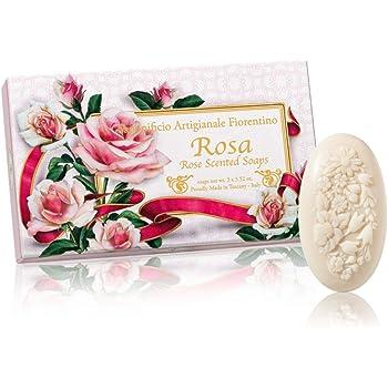 Rosa, Jabón ovalado con relieve tallado ramo de flores, pack regalo de 3 jabones de 100 g, italiano hecho a mano de Fiorentino: Amazon.es: Belleza