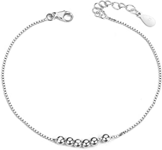 SHEGRACE Simple Design 925 Sterling Silver Chain Bracelet with Small Beads, 160mm