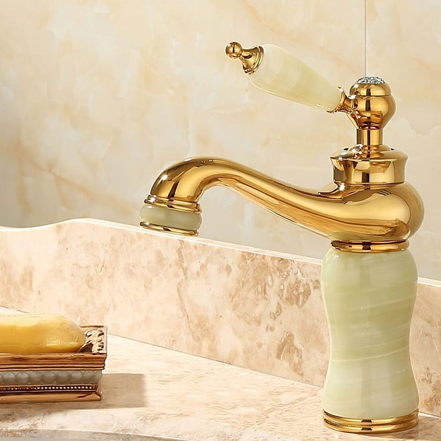 Rmckuva Bathroom Sink Taps Bathroom Sink Faucet Modern Single handle faucet Brass Blender Curved mouth Jade faucet Cyan-09