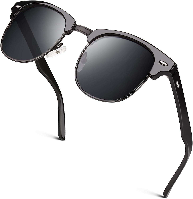 GQUEEN Classic Horn Rimmed Semi Rimless Polarized Sunglasses for Men Women GQO6