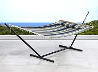 SUNCREAT 2 Person Double Hammock with 12 Foot Steel Stand, Includes Quilted Fabric Bed and Pillow, Blue & Aqua