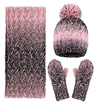 Women Winter Warm Knitted Snowflake Hat Gloves and Scarf Winter Set,Pink/Black