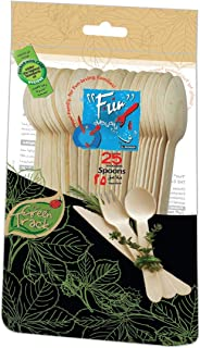 Fun® Everyday Eco Friendly Disposable Wooden Spoon Set 6.5 inch - Pack of 25