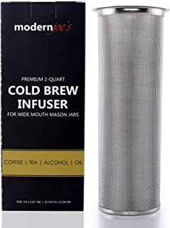 Premium Infuser Cold Coffee Maker for 2QT Wide Mouth Mason Jars by Modern Joe's. Perfect for Ice Coffee and Tea. Heavy Duty 50 Micron Fine Mesh 304 Stainless Steel