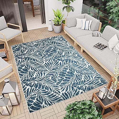 CC Teppich In-Outdoor Wetterfest - Tropische Pflanzen Blau - 200x290cm - Oeko-Tex Standard 100% Polypropylen Allergiker geeignet