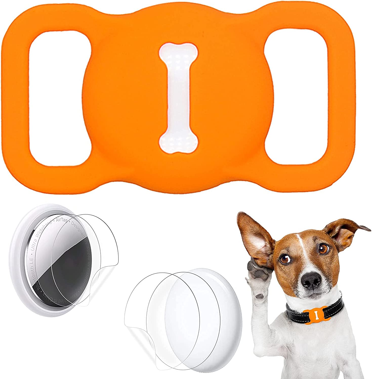 Aukvite Protector de Collar para Mascotas Airtag para el Accesorio de Collar para Mascotas Airtag GPS Finder, con 4 Juegos de Películas Protectoras (Naranja)