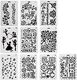 Vitasemcepli Set di 10 Stencil Fiori Riutilizzabili per la Carta di Creazione/Scrapbooking/Decorazini,Ottimo Regalo e Fai da Te per Famiglia Studenti Bambini Figli