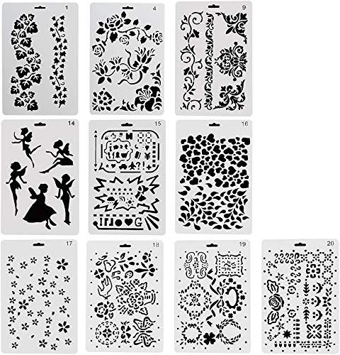 Vitasemcepli 10 sjablonen in verschillende stijlen, geschikt voor scrapbooking, kaarten maken, wanddecoratie, wenskaarten, schoolprojecten, dagelijkse planning, schilderen, accessoires en materialen voor creatief knutselwerk, perfect cadeau voor studenten / kinderen / meisjes / jongens / reizigers (set van 10)