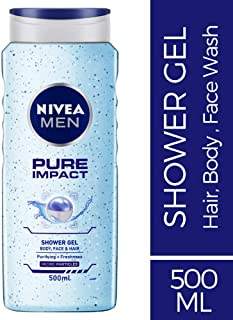 NIVEA MEN Pure Impact Shower Gel, 500ml, (Hair, Face & Body Wash)