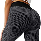 MOSHENGQI Women's Ruched Butt Lifting High Waist Yoga Pants Tummy Control Stretchy Workout Leggings Textured Booty Tights(Medium,#1 Dark Grey)