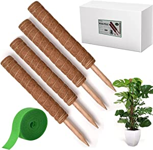 4 PCS Large Moss Pole Kit 17.5 Inch Plant Moss Pole Monstera Plant Support Structures Coir Moss Pole for Indoor Climbing Plants Support
