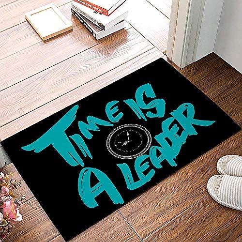 Eingangsteppich Time is A Leader - Wecker Fußmatten Küche Boden Bad Eingangsteppich Matte...