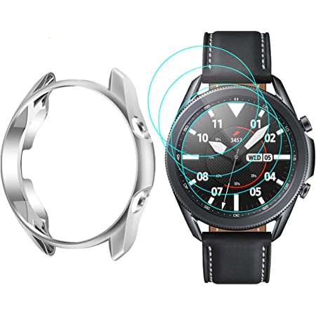 Vitty Hard PC Case/with Tempered Glass Screen Protector Compatible with Samsung Galaxy Active 2 44mm Electroplated Case for/All Around/Coverage/Protective Bumpers Cover for Galaxy Watch/Active 2