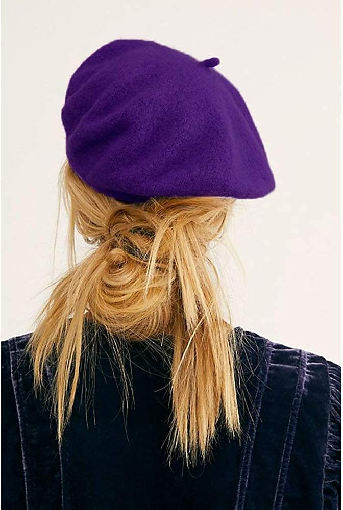 PODALOA Berets for Women Solid Color Wool French Beret Hats for Women Ladies Girls 2PCS Set