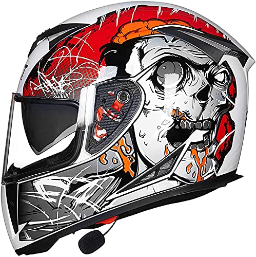 XLYYHZ Casco Bluetooth para motocicleta, modular tipo flip-tipo doble visera completa, casco certificado DOT, sistema integrado de comunicación intercomunicador Mp3 FM Broadcast Integrado A, L 57-58cM