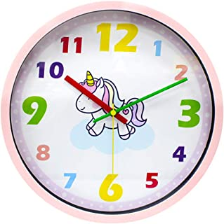 IPOUF Wall Clock ,Kids Decor Silent Non Ticking Clock Easy to Learn Time for Children,12 Inch Colorful Unicorn