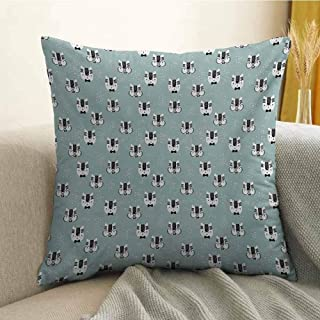 Antony Petty Cat Microfiber Cute Kittens with Giant Glasses Sketch Style House Pet Pattern with Dots Sofa Cushion Cover Bedroom car Decoration W16 x L16 Inch Seafoam Black and White
