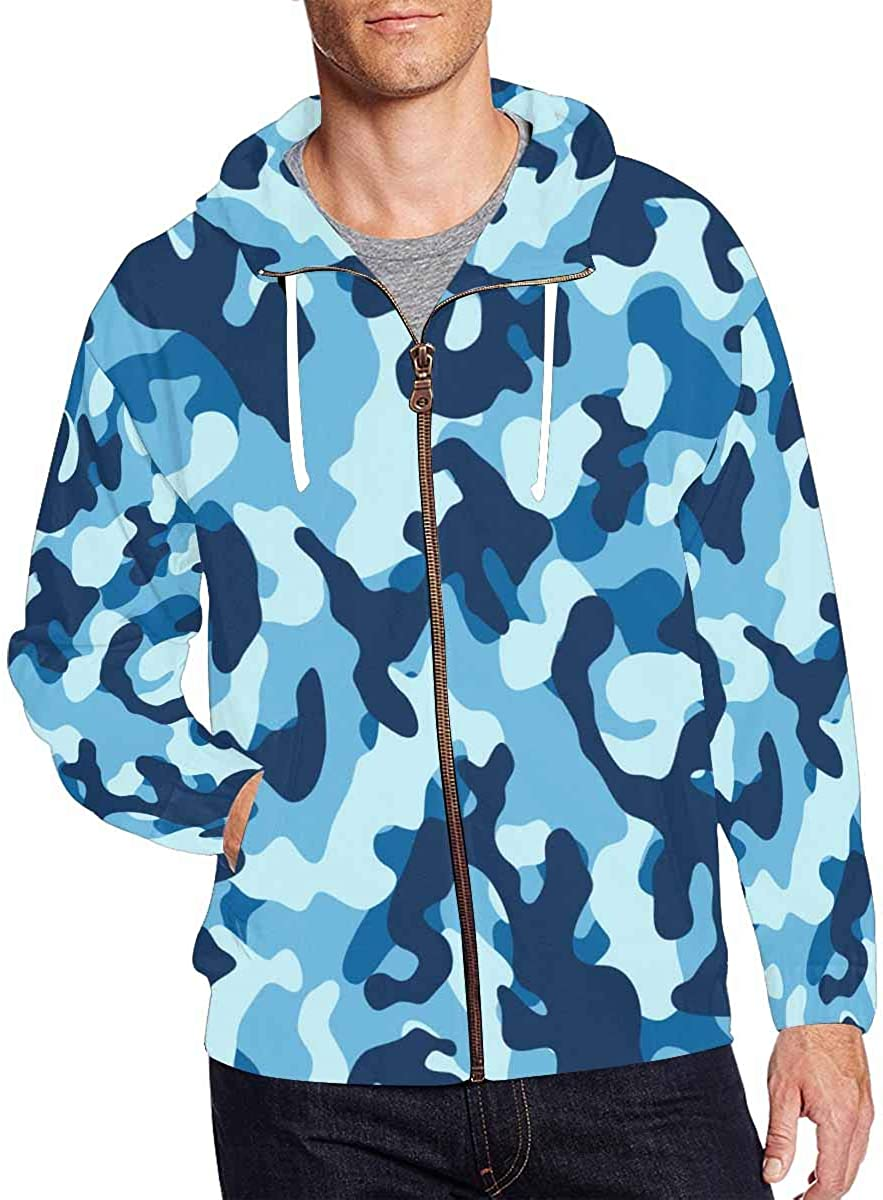 Selling rankings InterestPrint Men's Lightweight Full Zip Camouf Water Sea Hoodie Denver Mall