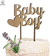PAPA LONG Rustic Wooden Baby Boy Cake Topper For Baby Shower Include 2pcs PP Holder for SAFE FOOD CONTACT