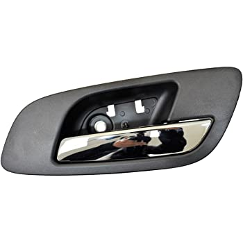 Ebony Set of 4 Inner Interior Inside Door Handle without Hole Housing with Chrome Lever Black PT Auto Warehouse GM-2546MAQPK