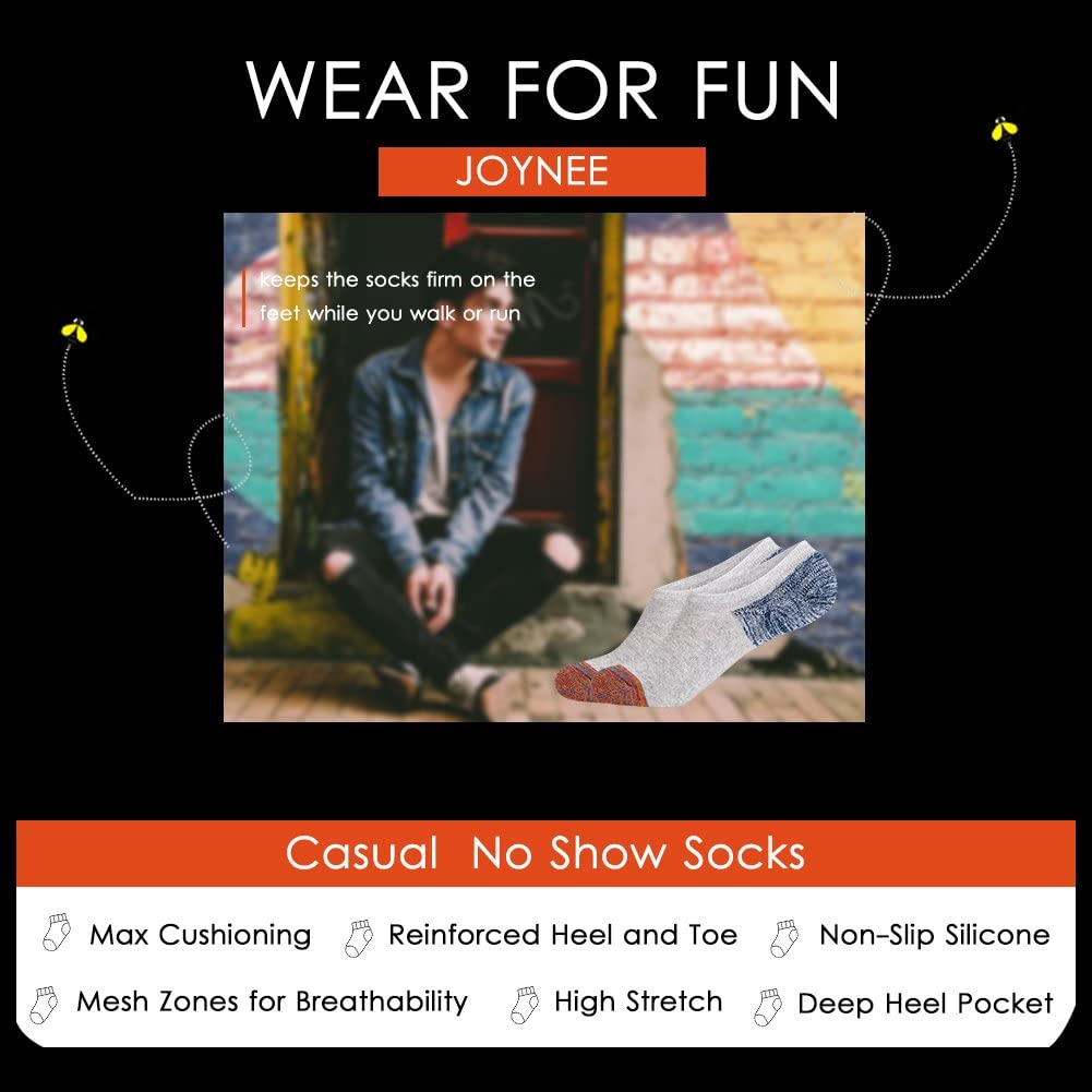 JOYNÉE Men's 6 Pack Casual Cushion Anti-Slid Cotton No Show Socks with Silicone