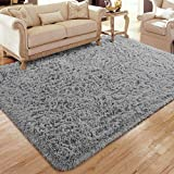 Flagover Soft Fluffy Modern Living Room Area Rugs Shaggy Plush Non-Slip Bedroom Carpets Suitable for Children Room, Baby Room, College Dorm and Nursery Home Decor Floor Rugs 3x5 Feet Grey