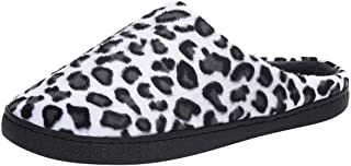Wadonerful Leopard Slippers for Couples Women Mens Winter Warm Plush Slippers Indoor Non-Slip Bedroom Home Cotton Shoes