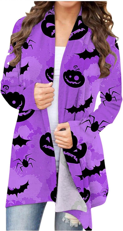 Sweaters for Women, Halloween Cardigan Long Sleeve Open Front Cardigan Funny Pumpkin Black Cat Ghost Lightweight Coat