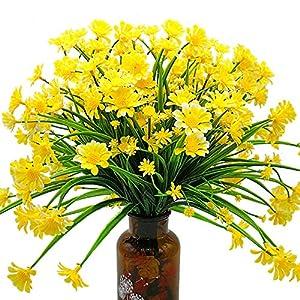 Silk Flower Arrangements Grunyia Artificial Daisy Flowers (Pack of 4) (Yellow)