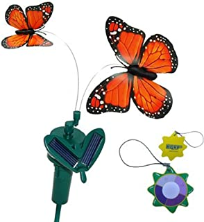 HQRP Twin Orange Solar Powered Flying Fluttering Monarch Butterflies for Garden Plants Flowers Plus UV Chain/UV Health Meter