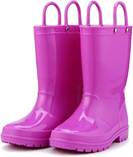 K Kids Rain Boots, Toddler Rain Boots Environmental Material Boots with Memory Foam Insole and Easy-on Handles