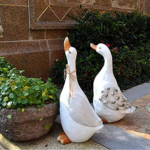Décoration De Jardin Jardin Figurines étanche Figurine d'oie Blanche Figurine Résine avec pour Statues Décoration De Jardin Animaux