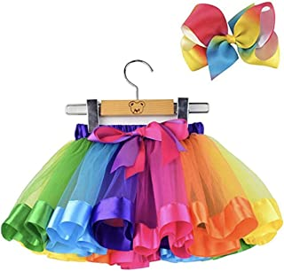 Yalla Baby Girls Rainbow Mini Tutu Skirt Party Costume Dress for Girls 5-8 Years - 2pcs Set Skirt and Hair Bow, Pink and M...