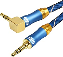 Aux Cable 3.5 mm Male to Male (3Ft/1M) Stereo Audio Auxiliary Cable 90 Degree Right Angle [24K Gold Plated-HiFi Sound Quality-Nylon Braided] Aux Cord for Laptop,Phones,Tablets,MP3 Players etc