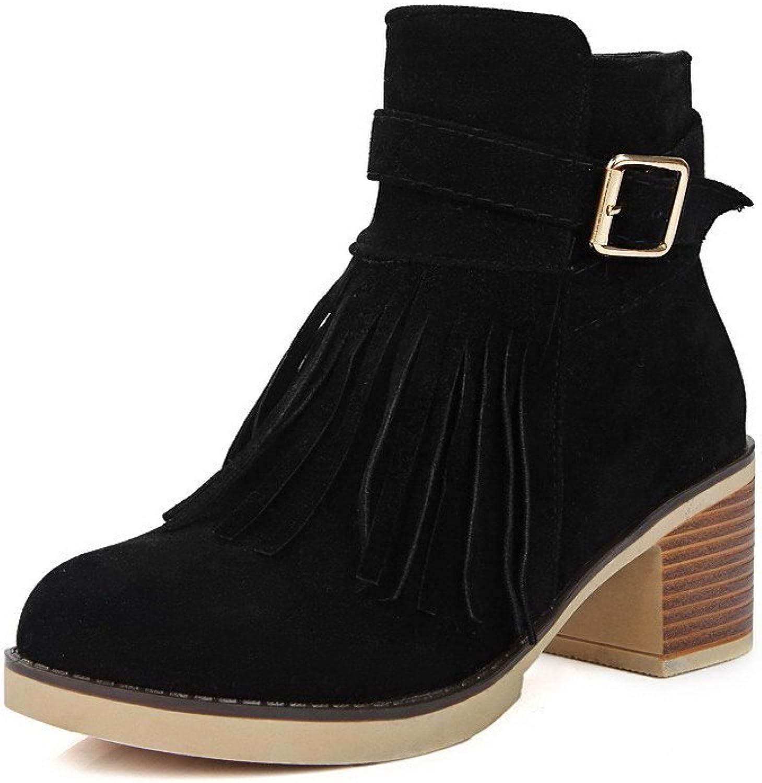 AllhqFashion Women's Low-Top Solid Zipper Round Closed Toe Kitten-Heels Boots with Tassels