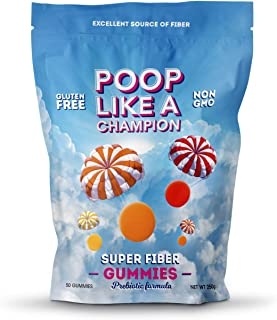 Poop Like A Champion High Fiber Gummies Packs 9 g of Fiber in Just 3 Gummies! Peach, Orange and Strawberry, Ultra Fiber, 1...