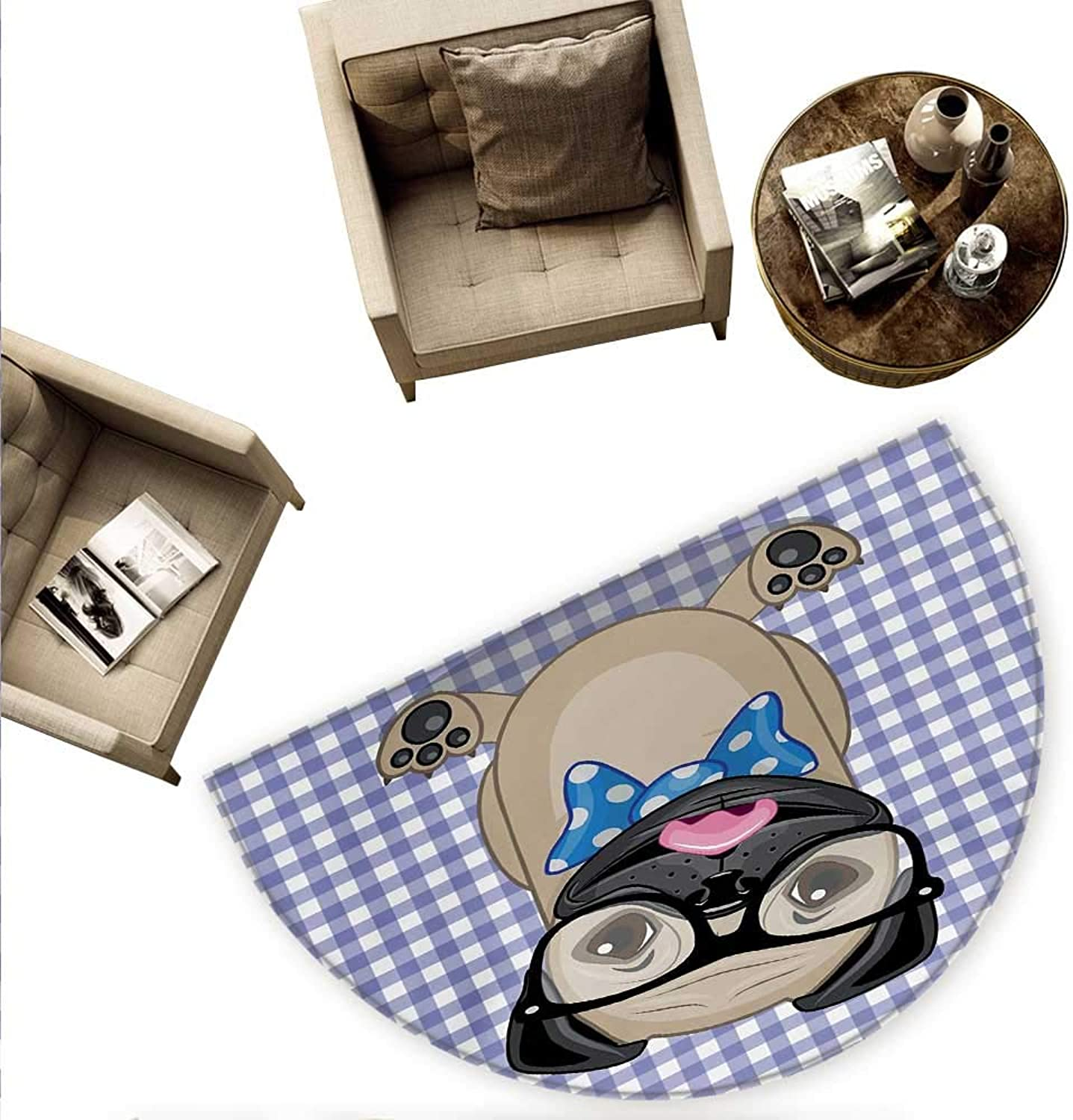 Pug Semicircular Cushion Nerdy Glasses And Dotted Bow Tie On A Puppy