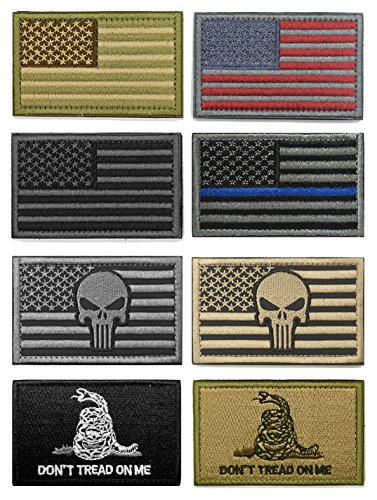 WZT Bundle 8 Pieces American Flag Tactical Morale Military Patch Set