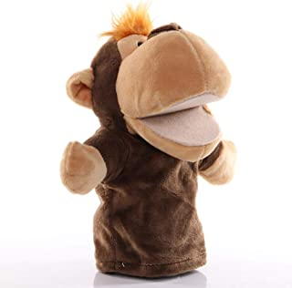 HHtoy Monkey Animal Hand Puppets Plush Figure Toys Movable Open Mouth Early Educational