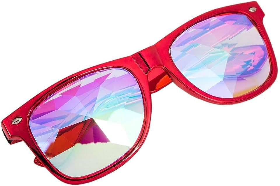 Festivals Kaleidoscope Sunglasses Round Rave Rainbow Prism Diffraction Glasses