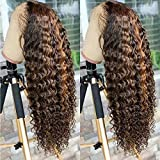 Oulaer Hair Highlight Ombre #4/27 Color Curly Wig Brazilian Remy Human Hair 13x6 HD Transparent Lace Front Human Hair Wigs Pre Plucked Natural Hairline Glueless Wig For Black Women 150% Density 18inch